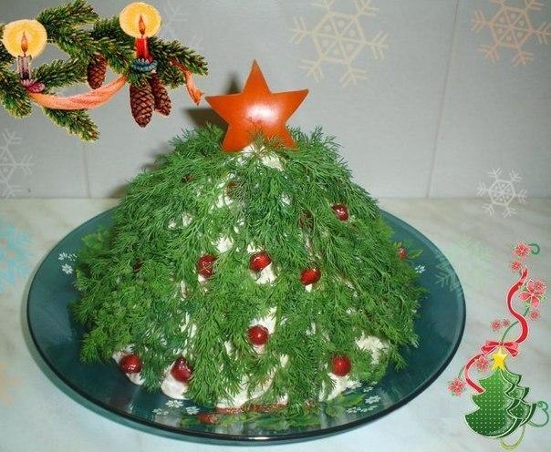 салат новогодняя елка, украшение салатов к новому году