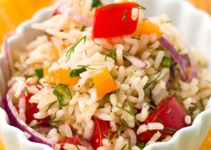 салат из риса постный