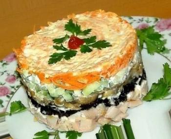 салат праздничный с корейской морковкой