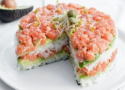 торт салат суши из рыбы форели на новый год