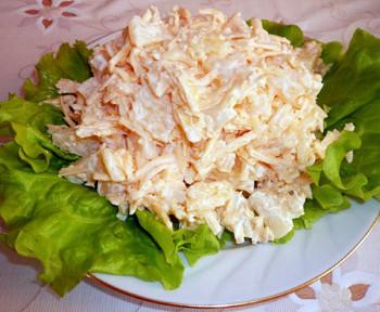 салат сырный с ананасом
