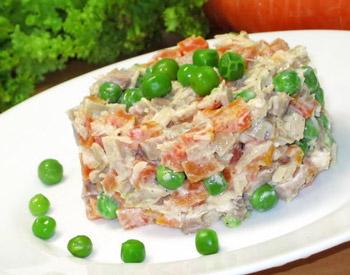 салат из горошка с мясом