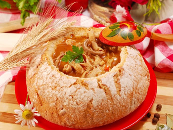 закуска из курицы хлебная корзина