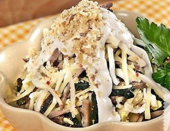 салат из языка, грибов и чернослива