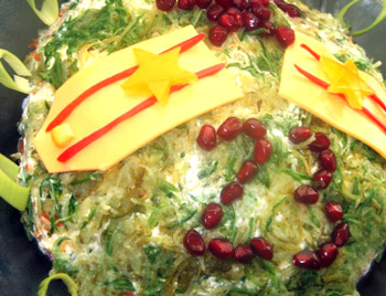 салат праздничный к 23 февраля Погоны