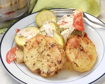 закуска царская из кабачков с картофелем и помидорами