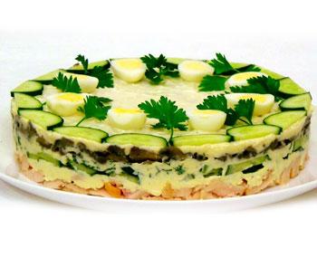 салат из курицы и грибов, салат осенний