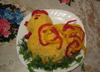 салат новогодний в виде петуха
