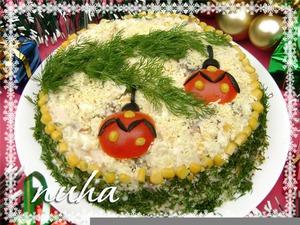 новогодний салат еловая веточка