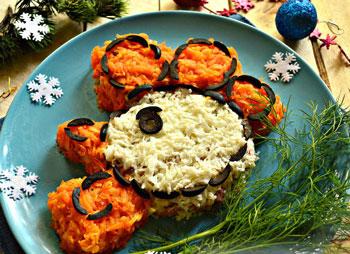 салат новогодний на год петуха