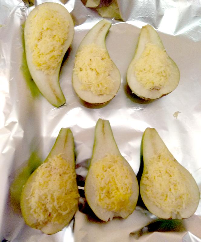 груша запеченная с сыром и креветками, кинорецепт из сериала Кухня