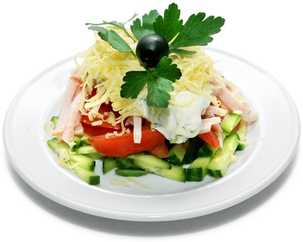 Салат овощной с ветчиной или языком (Salade de lagumes)